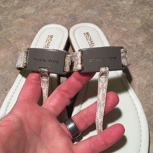 Michael Kors Shoes - Michael Kors White Signature Logo Flip Flops 7M